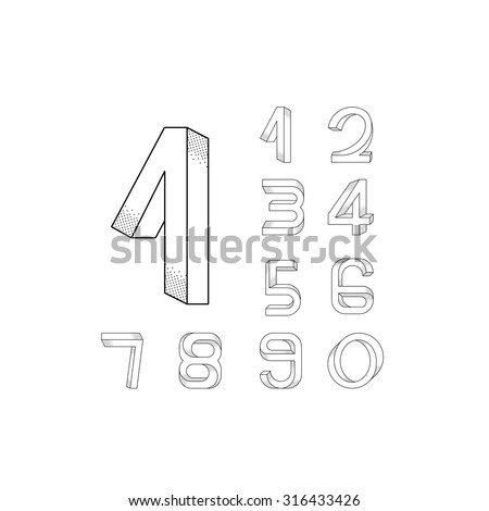 Impossible numerals set from 0 to 9 with big initial 1. - stock vector