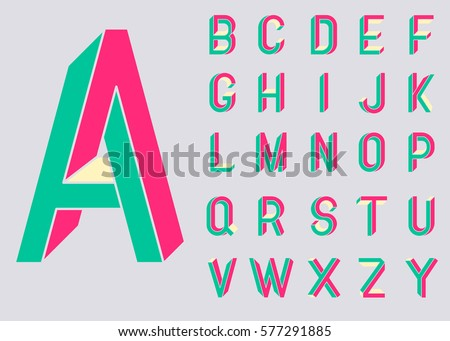 Impossible Shape Font Memphis Style Letters Colored In The Of 80s