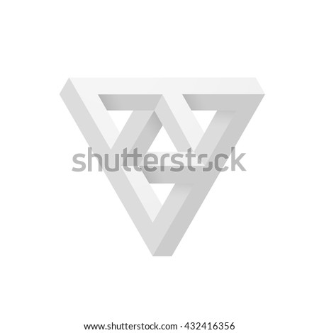 Impossible shape. Optical Illusion. Vector Illustration isolated on white - stock vector