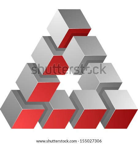 Impossible triangle cubes - stock vector