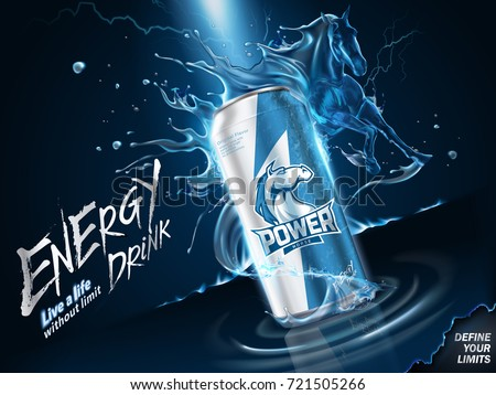 Impressing energy drink ads, liquid horse gallops in the air with spatter drinks and lightning in 3d illustration
