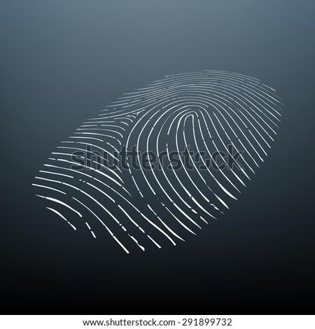 Imprint a human finger. Biometric data. Vector Image Stock. - stock vector