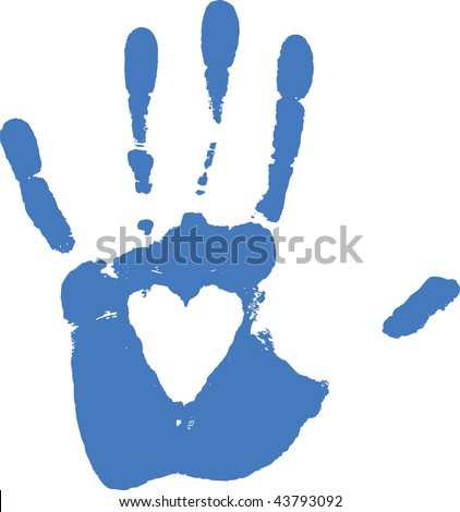 Imprint of hand - white heart are transparent -over any background - stock vector