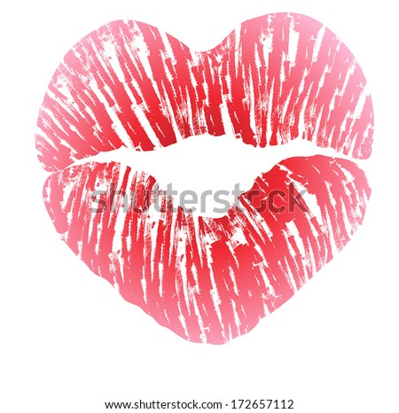 Imprint of heart shaped lips kiss with pink lipstick - stock vector
