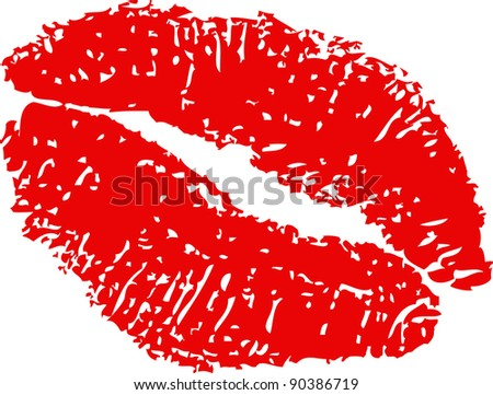 imprint of the  mouth - stock vector