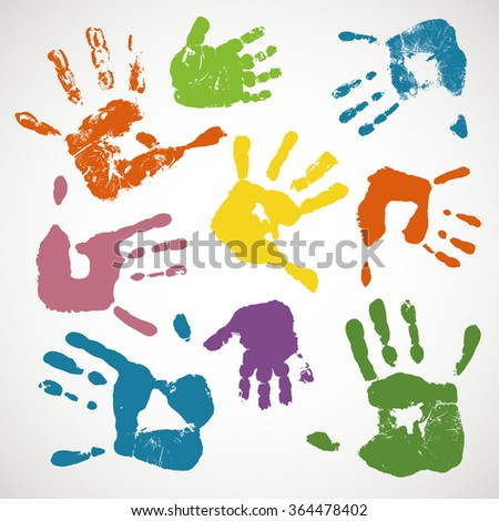 imprints of kids hands hand prints vector illustration - Kid Prints