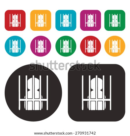 imprisonment icon. arrested icon. jail icon - stock vector