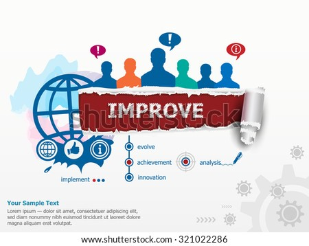 Improve concept and group of people. Set of flat design illustration concepts for business, consulting, finance, management, career, human resources.   - stock vector
