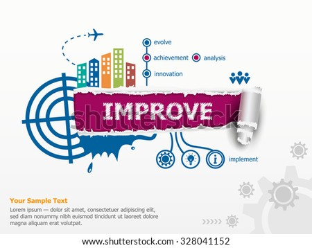 Improve design concept and breakthrough paper hole with ragged edges with a space for your message.  - stock vector