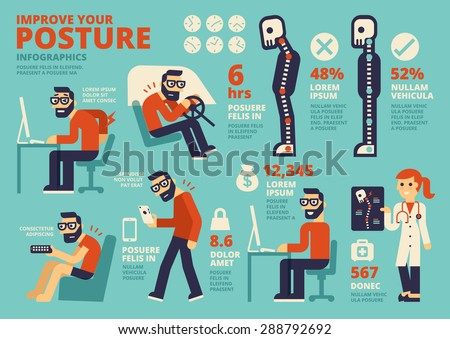 Improve Your Posture Infographics - stock vector