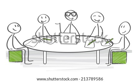 In a meeting, two or more people come together to discuss one or more topics - stock vector
