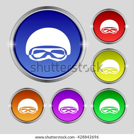 In a ski masks, snowboard ski goggles, diving mask icon sign. Round symbol on bright colourful buttons. Vector illustration - stock vector