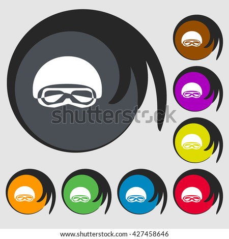 In a ski masks, snowboard ski goggles, diving mask sign icon. Symbols on eight colored buttons. Vector illustration - stock vector