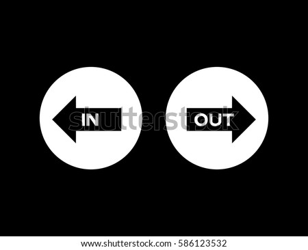 Out Arrow Direction Sign On Black Stock Vector 2018 586123532