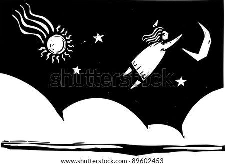 In dream like image woman flies into the night sky.