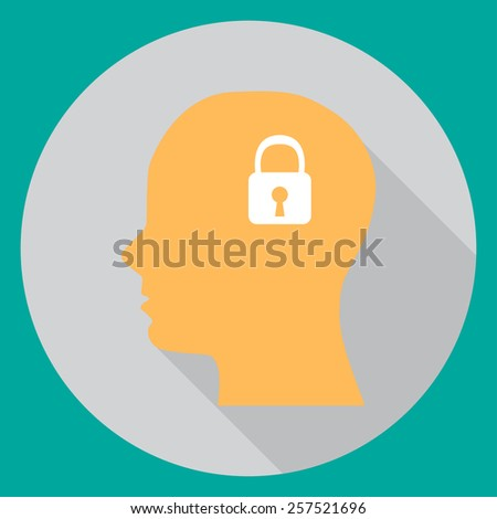 In flat head with a lock on a turquoise background vector