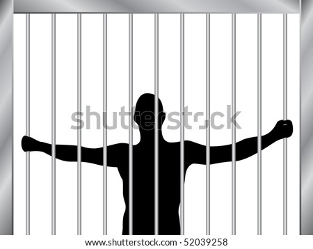 In jail - stock vector