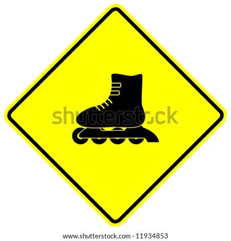 in-line roller skate sign - stock vector
