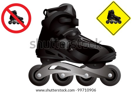 In line roller skate vector, inline skating boot realistic detailed image, in-line roller and no roller skating road signs - stock vector