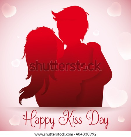 In love couple kissing silhouette with floating hearts in background for Kiss Day. - stock vector