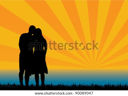 In Loved Silhouettes - stock vector