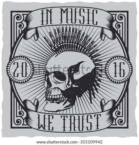 In Music We Trust label design for t-shirts, posters, logos, greeting cards etc. - stock vector