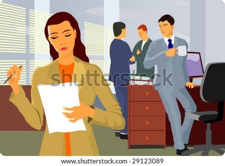 in office - stock vector
