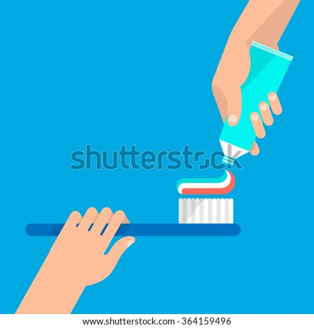 In one hand holds toothbrush, the other hand holds tube of a toothpaste. Hygiene and teeth care concept. Isolated vector illustration flat design. - stock vector