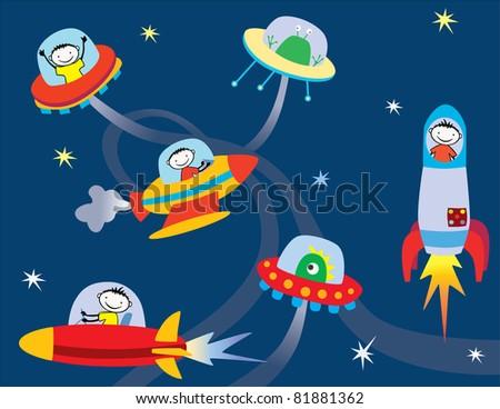 In space - stock vector