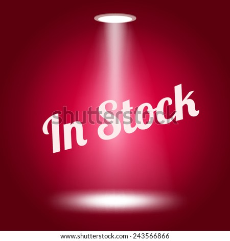 In stock stage lit with lights on red background Vector illustration.  - stock vector