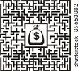 In the bottom of the maze there is wealth, vector illustration - stock photo