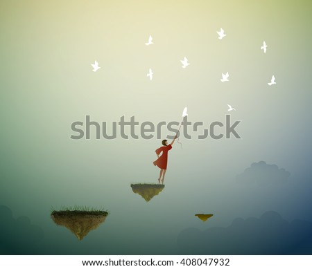 in the dreamland, girl standing on the flying rock and holding pigeon, fly in the dream,  life on flying rock, vector - stock vector