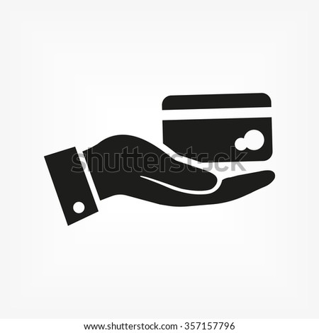 in the hands of the Bank credit card icon, vector . 10 EPS
