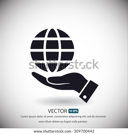 in the hands of the Globe  icon, vector . 10 EPS - stock vector