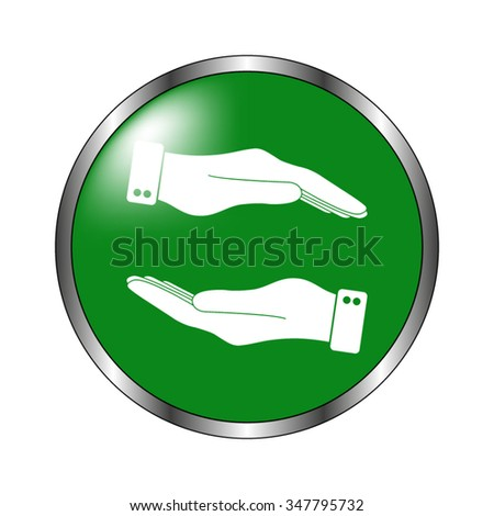 in the hands of the Help  - green vector icon