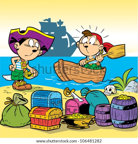 In the illustration, children are playing pirates.