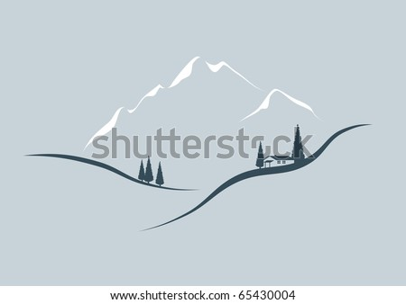 In the mountains - stylized illustration - stock vector