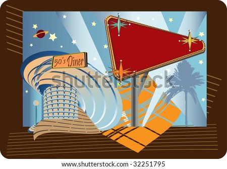 In vector form with spirit of retro 50S diner Americana billboard sign in mind. - stock vector