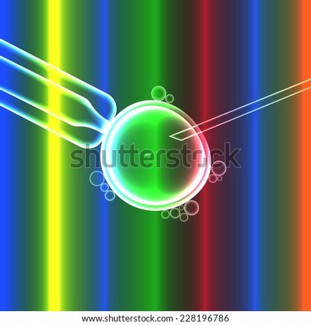 In vitro fertilization, artificial insemination with sperm egg, colorful vector illustration - stock vector