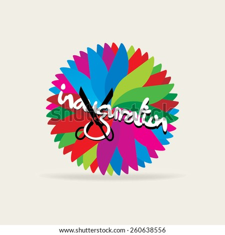 inauguration concept with scissor over colorful background  - stock vector