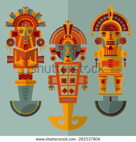 Inca ceremonial knives. Tumi. Vector illustration - stock vector