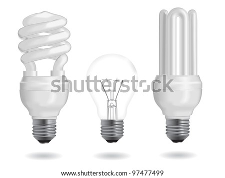 Incandescent and fluorescent energy efficiency light bulbs. Vector Illustration. - stock vector