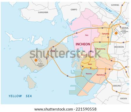 Incheon Road Administrative Map Stock Vector 221590558 Shutterstock