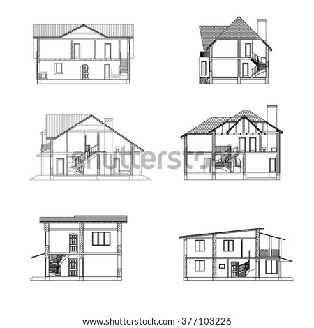Incisions houses. Vector set. - stock vector