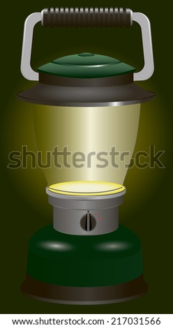 Included battery lantern with switch for travel and camping. Vector illustration.