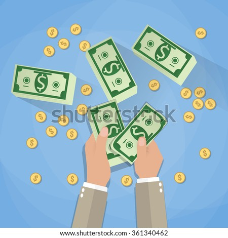 income concept. businessman counting cash money, stacks of cash dollars and gold coins on blue background. Vector illustration in flat design - stock vector