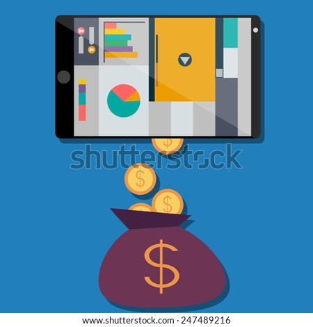 Income from web sites, in a flat design - stock vector