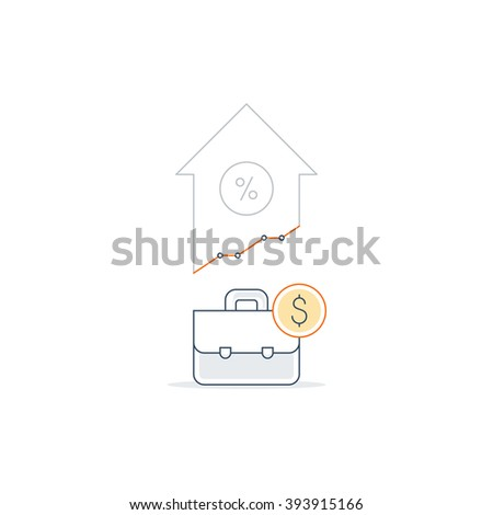 Income growth concept, profit increase, finance portfolio, bank savings account icon, linear illustration - stock vector