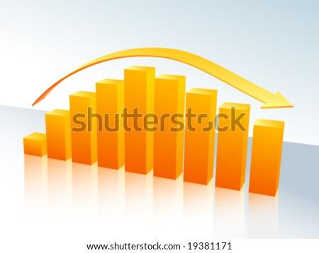 Increase and decrease three-dimensional bar graph - stock vector
