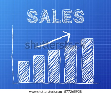 Increasing graph sales word on blueprint stock vector 577265938 increasing graph and sales word on blueprint background malvernweather Images